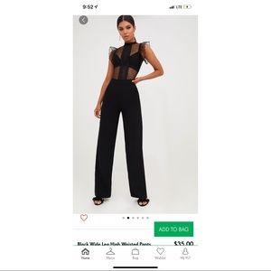 PLT - black high waisted wide leg trousers